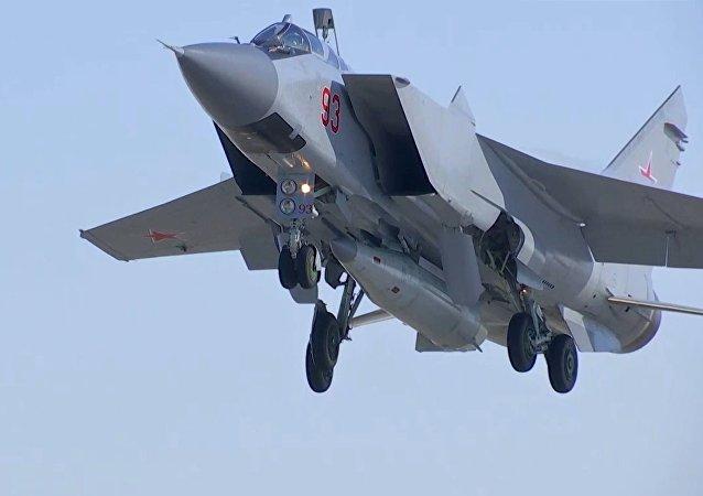 Un MiG-31 de las Fuerzas Aeroespaciales de Rusia