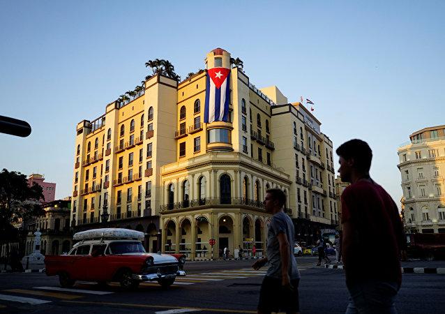 Bandera de Cuba en la Habana