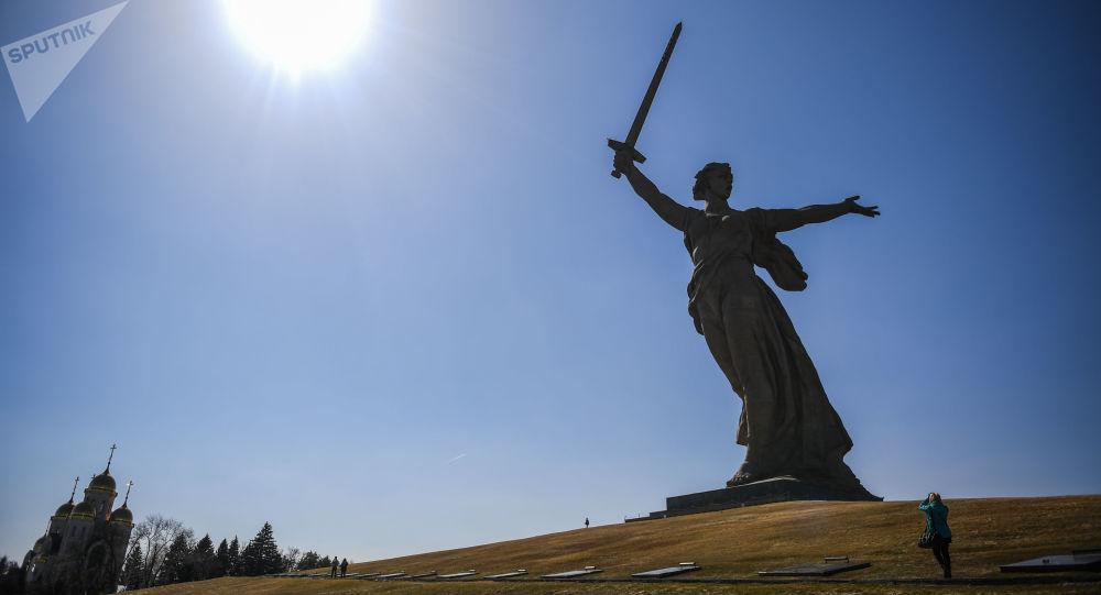 Estatua de la Madre Patria en Volgogrado, Rusia (archivo)