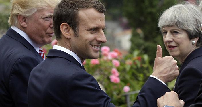 Donald Trump, Emmanuel Macron y Theresa May durante el foro G7 en Taormina (Italia), 26 de mayo de 2017