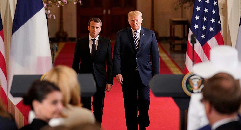 El presidente estadounidense, Donald Trump con su homólogo francés, Emmanuel Macron