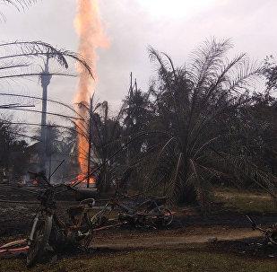 Incendio en un pozo petrolífero en Indonesia