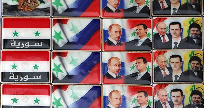 Los imanes con retratos del presidente ruso, Vladímir Putin, y presidente sirio, Bashar Asad