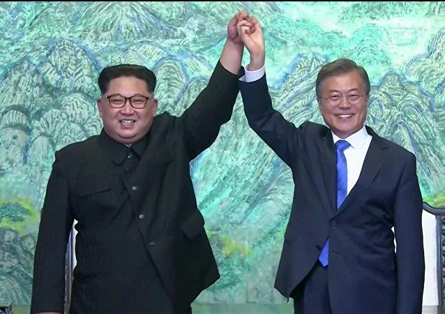 Reunión entre el líder de Corea del Norte, Kim Jong-un, y el presidente de Corea del Sur, Moon Jae-in Форматы: картинка