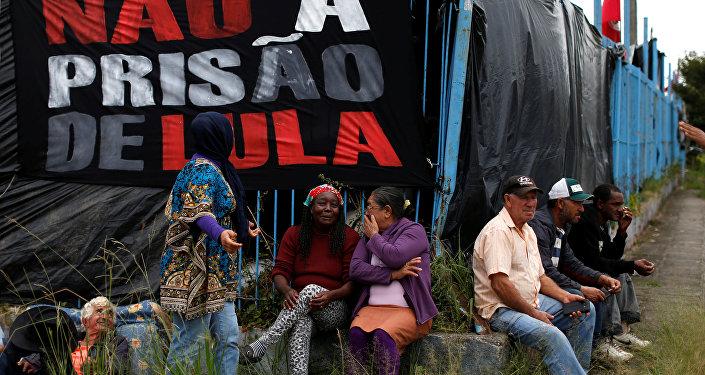 Campamento de los seguidores del expresidente de Brasil Lula da Silva en Curitiba (archivo)