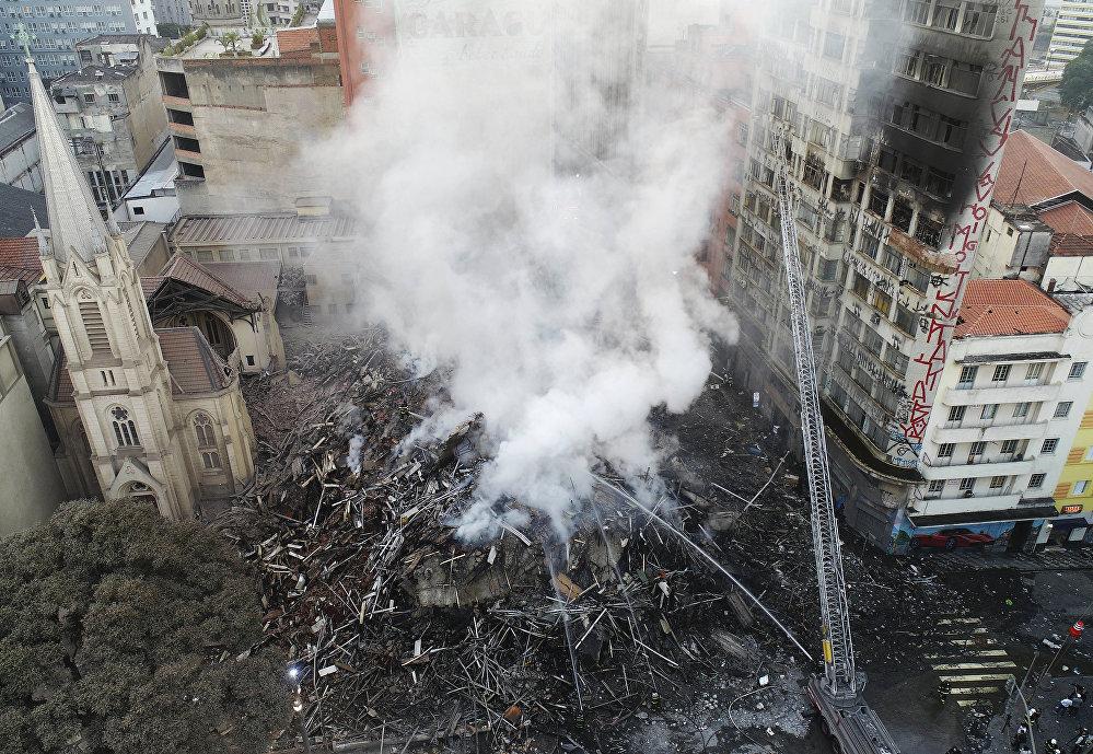 La región del edificio que colapsó tras un incendio en Sao Paulo