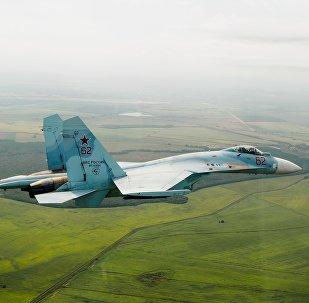 Un caza Su-27 ruso