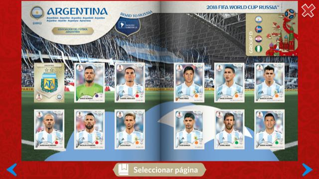 Selección argentina en el album digital de Panini sobre el Mundial de Rusia 2018