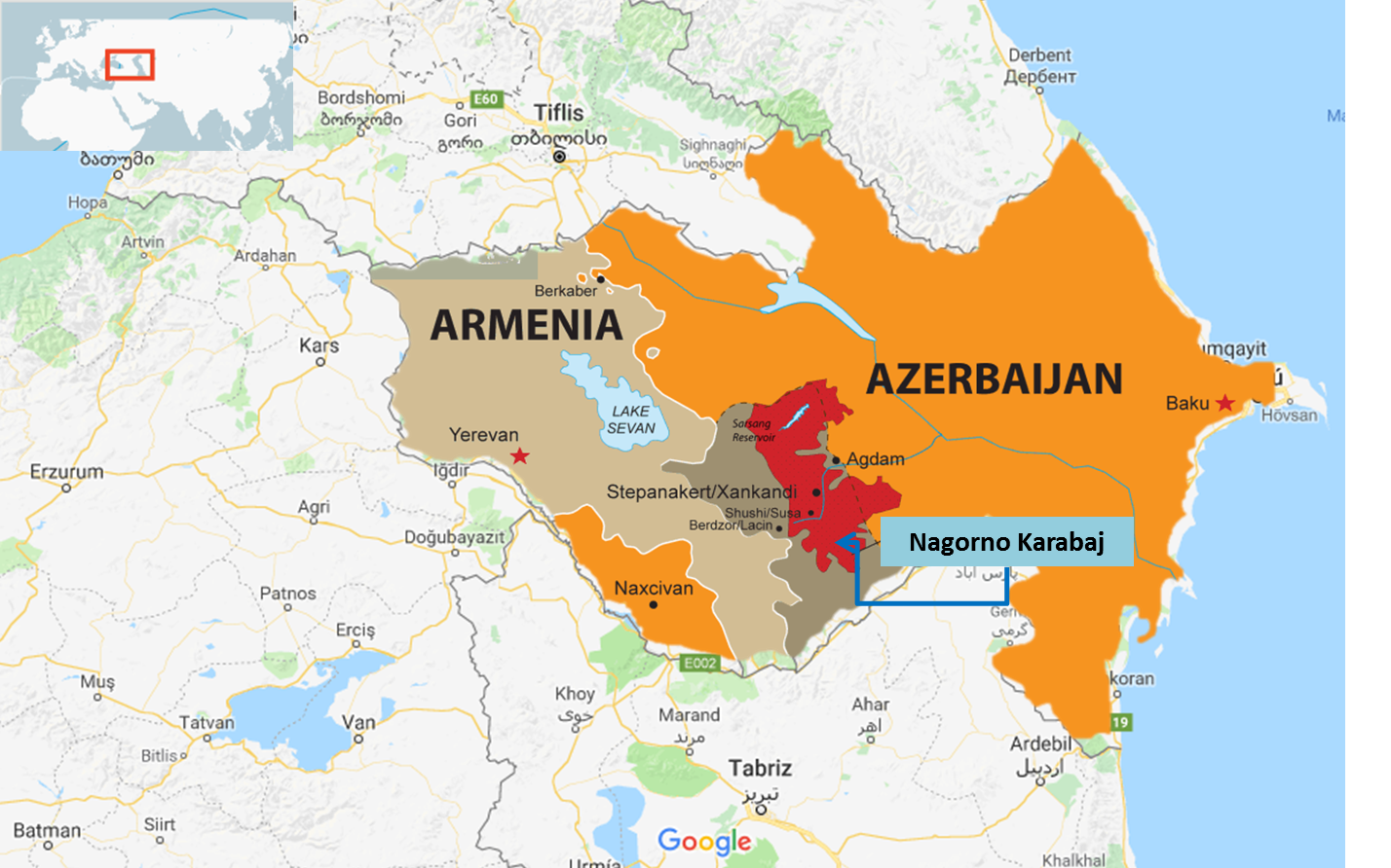 Mapa de Nagorno Karabaj