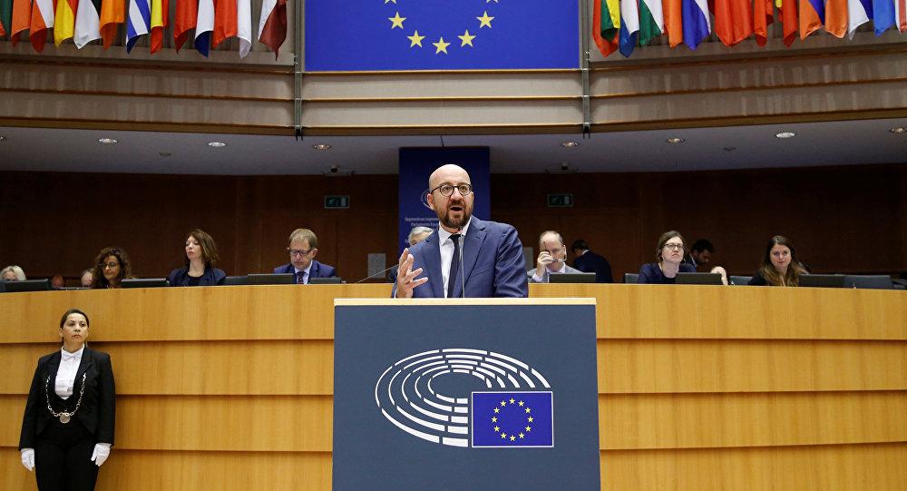 El primer ministro belga, Charles Michel, en el Parlamento Europeo