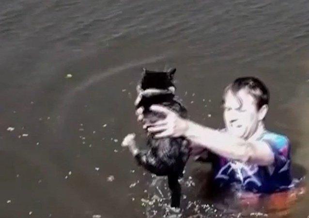 Un hombre salva a un gato atrapado en medio de un canal
