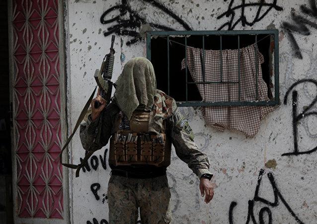 Operación policial en la favela de Ciuadd de Dios en Río de Janeiro, Brasil