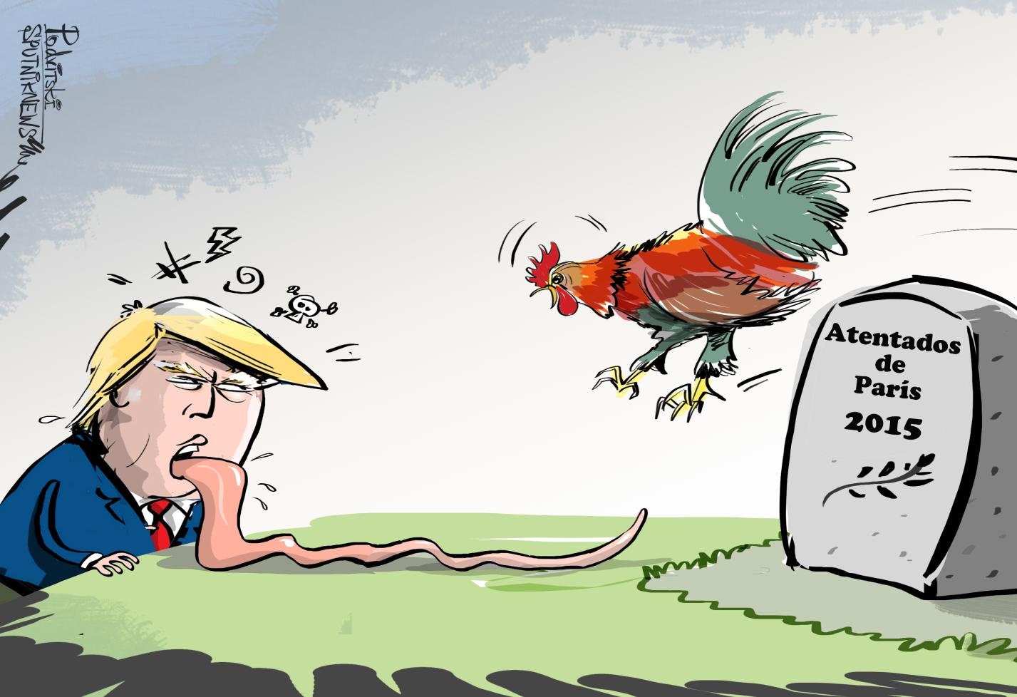 La lengua viperina de Trump llega hasta Francia - Sputnik Mundo