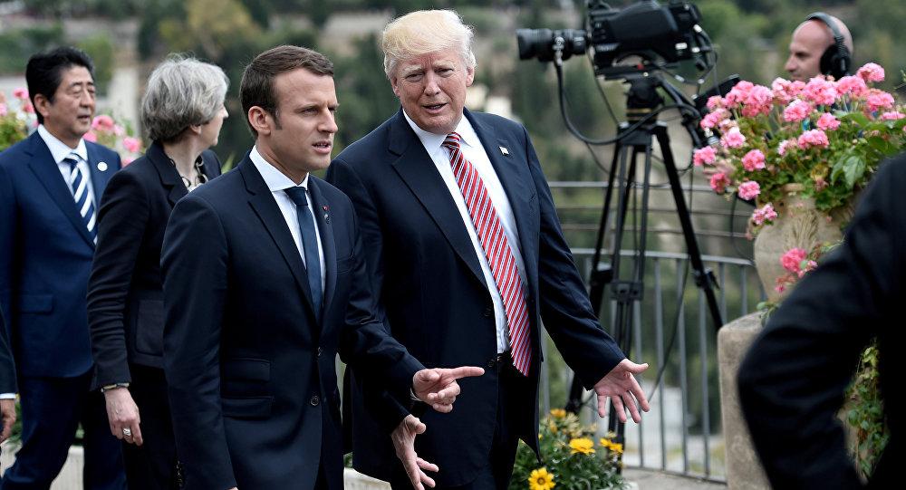 Presidente de Francia, Emmanuel Macron, y presidente de EEUU, Donald Trump