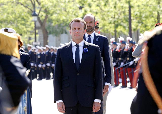 El presidente de Francia, Emmanuel Macron, durante la conmemoración del 73 aniversario de la victoria sobre el fascismo