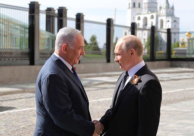 El primer ministro de Israel, Benjamín Netanyahu y el presidente de Rusia, Vladímir Putin