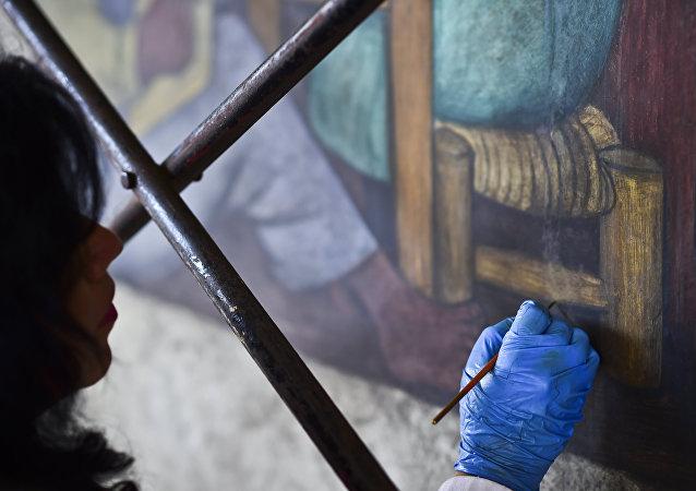 Una obra de Diego Rivera bajo restauración