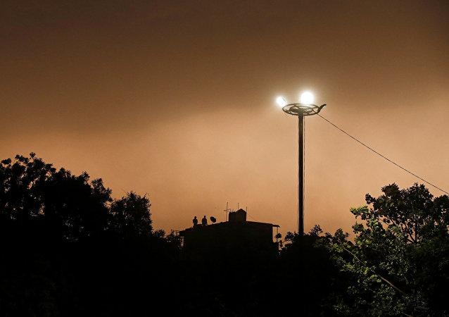 Una tormenta de polvo en Nueva Delhi, la capital de la India