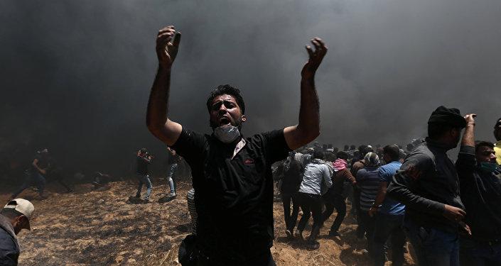 Los palestinos de la Franja de Gaza protestan contra el traslado de la Embajada de EEUU a Jerusalén