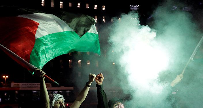 Manifestación de los palestinos por los acontecimientos en Gaza