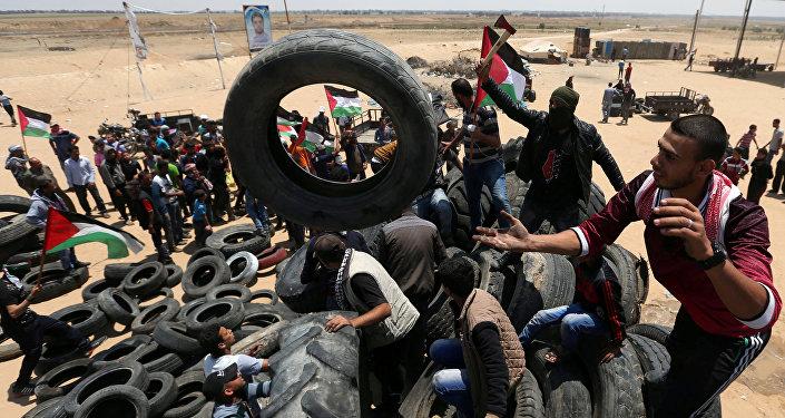 Protestas de los palestinos en la Franja de Gaza