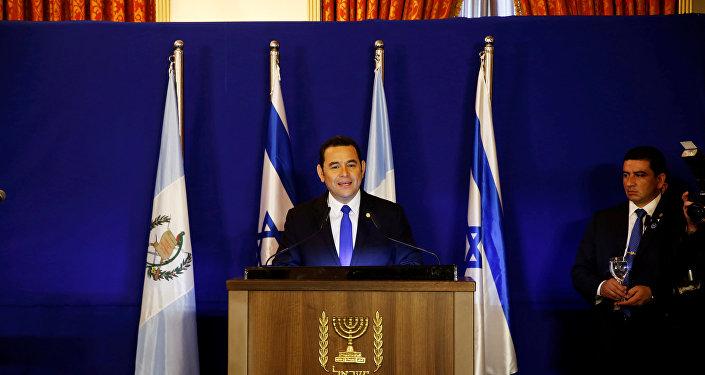 Jimmy Morales, presidente de Guatemala durante su visita a Israel