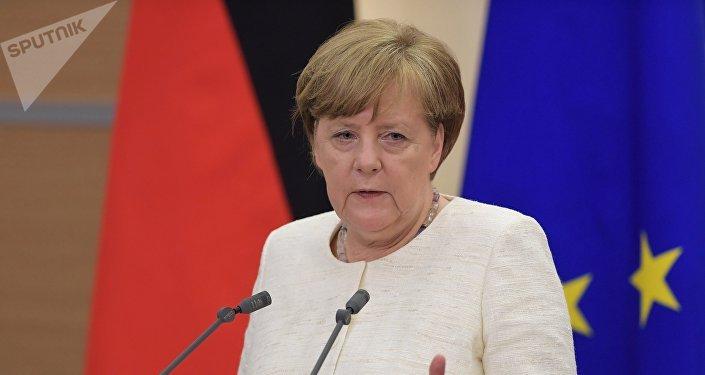 Angela Merkel, la canciller de Alemania, tras su reunión con el presidente de Rusia, Vladímir Putin