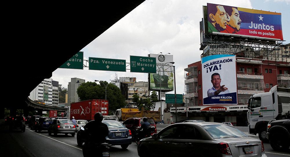 Carteles electorales en las calles de Caracas, Venezuela