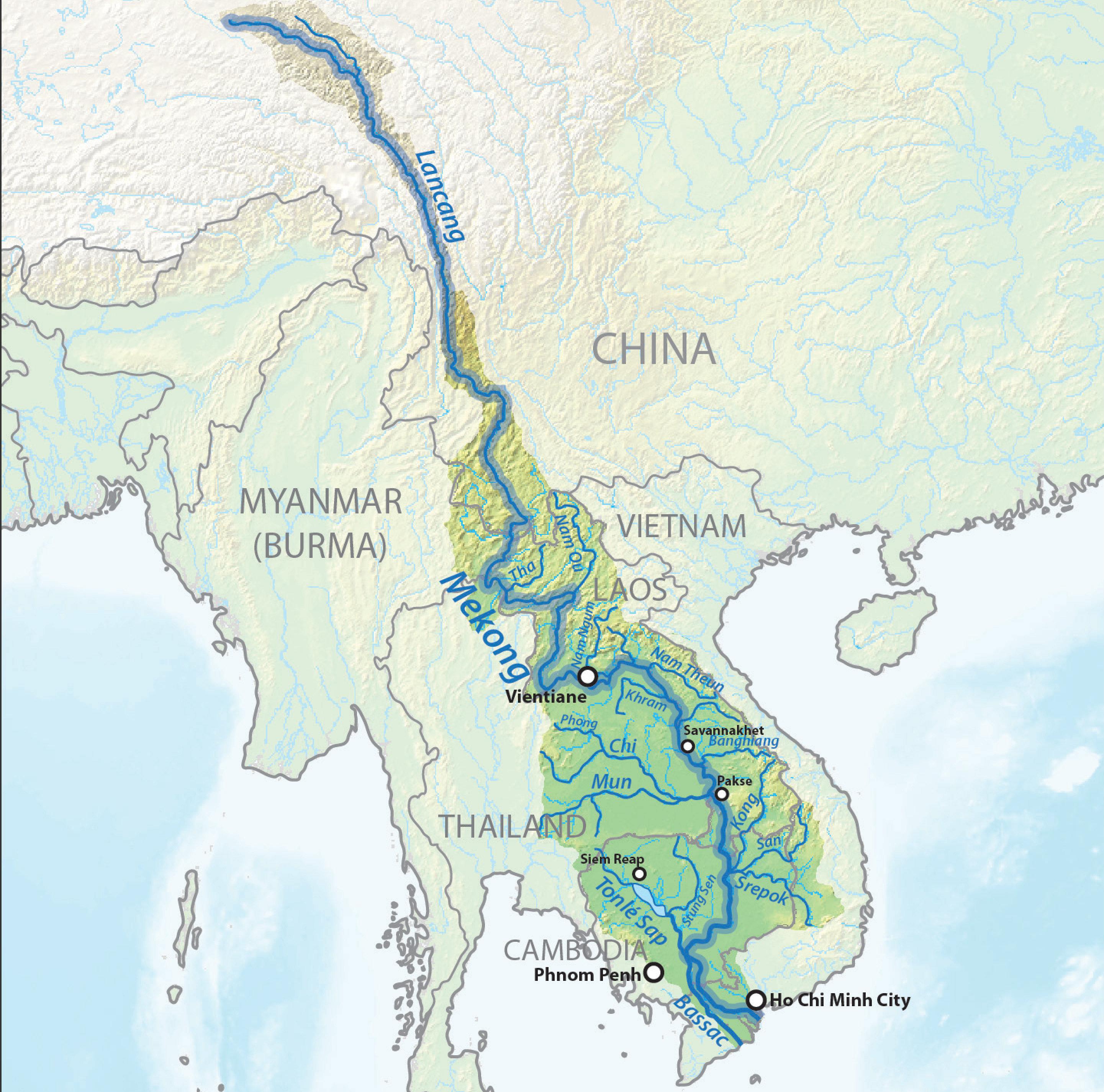 El río Mekong fluye a través de media docena de países asiáticos
