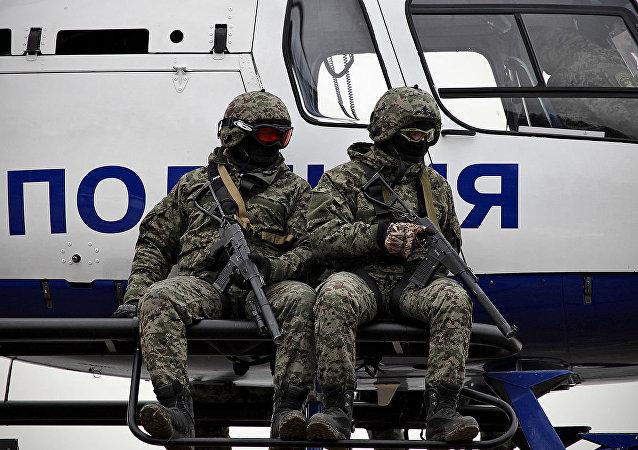Los oficiales de la unidad Rys ('Lince', en ruso)