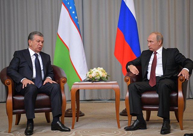 Presidente de Uzbekistán, Shavkat Mirziyóyev, y el presidente de Rusia, Vladímir Putin (archivo)
