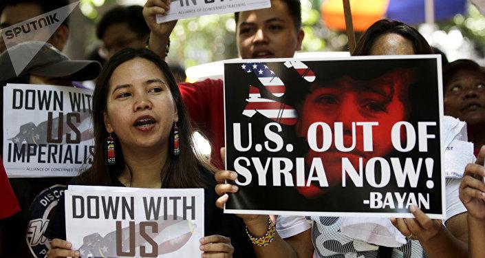 Marcha en contra de los bombardeos de Siria en Manila (Filipinas), 17 de abril de 2018