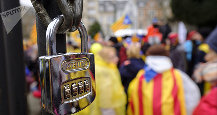 Partidarios de la independecia de Cataluña en una manifestación (archivo)