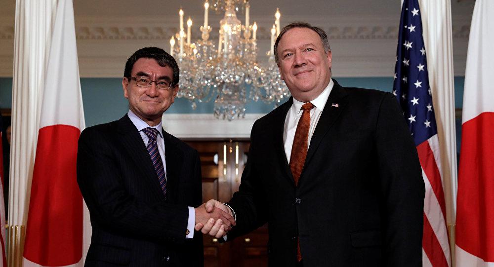 Canciller de Japón, Taro Kono, y secretario de Estado de EEUU, Mike Pompeo