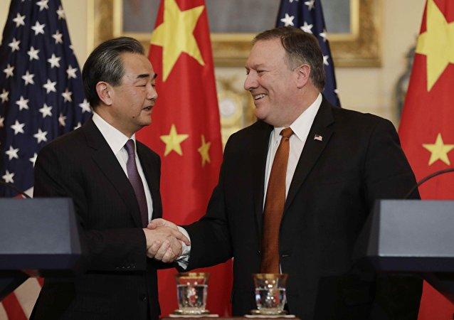 El canciller de China, Wang Yi, y el secretario de Estado de EEUU, Mike Pompeo