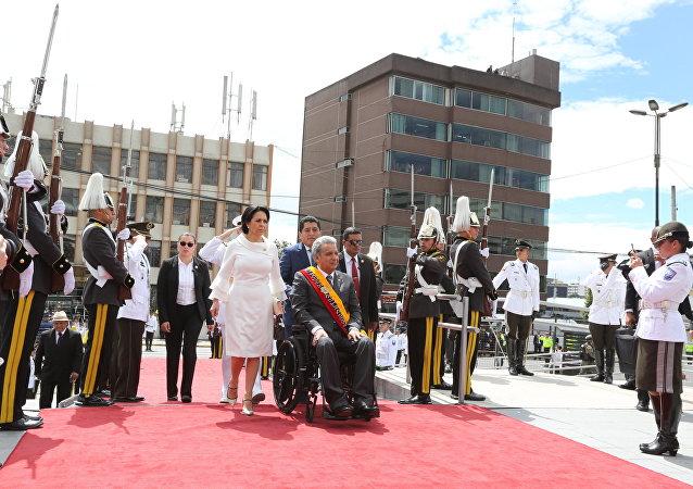 Presidente de Ecuador, Lenín Moreno, a su arribo al palacio legislativo para rendir cuentas de su primer año de gestión