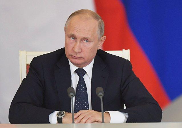 Vladímir Putin durante su encuentro con Shinzo Abe