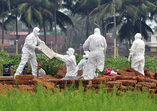 Médicos sepultan a un fallecido por el virus Nipah (VNi)