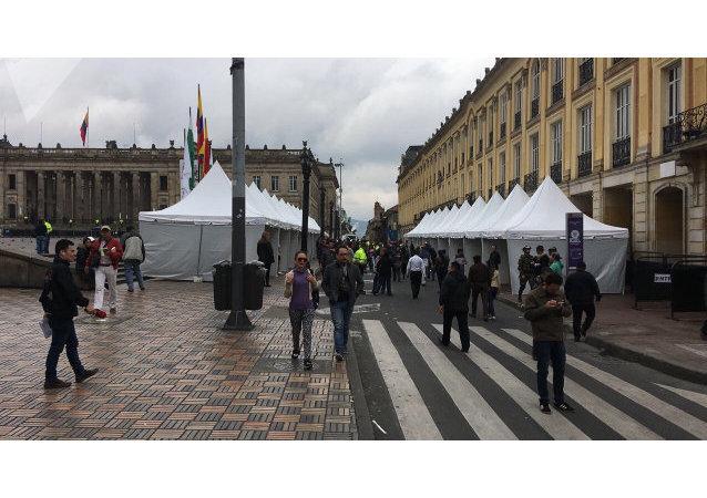Ambiente en la Plaza de Bolívar, en Bogotá (Colombia) durante las elecciones del 27 de mayo de 2018