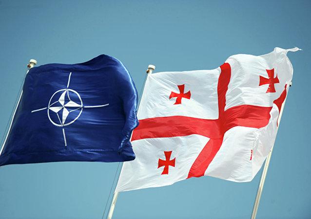 Bandera de la OTAN y Georgia