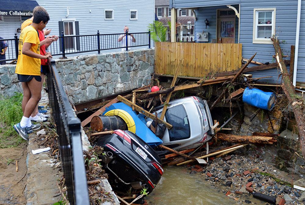 Consecuencias de la inundación en la ciudad de Ellicott, EEUU