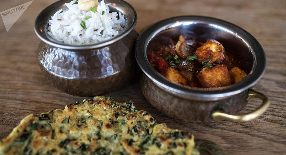 Platos de la cocina hindú en Green Cafe
