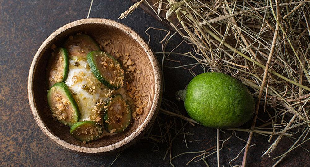 Helado de matzoni casero con guayaba en el restaurante Barán-Rapán