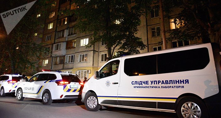 Policía ucraniana cerca del lugar del asesinato del periodista ruso Arkadi Bábchenko