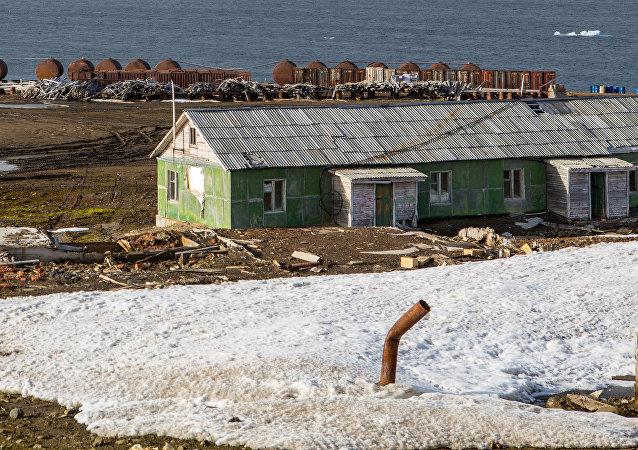 Una estación polar rusa en el Ártico, foto de archivo