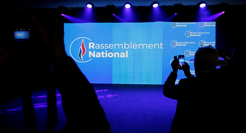 Logo del partido Unión Nacional (Rassemblement national, en francés)