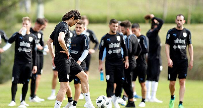 El equipo de fútbol de Uruguay se prepara para el Mundial