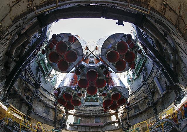 El Soyuz-FG en el cosmódromo Baikonur (archivo)