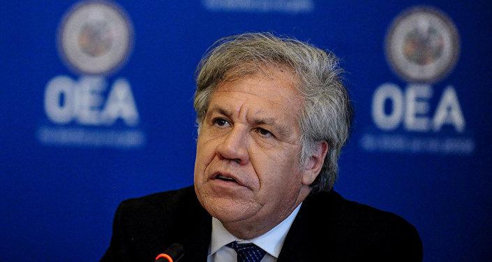 El secretario general de la OEA, Luis Almagro, participa en una conferencia de prensa en Washington