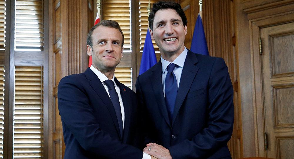 Emmanuel Macron, presidente de Francia, y Justin Trudeau, primer ministro de Canadá